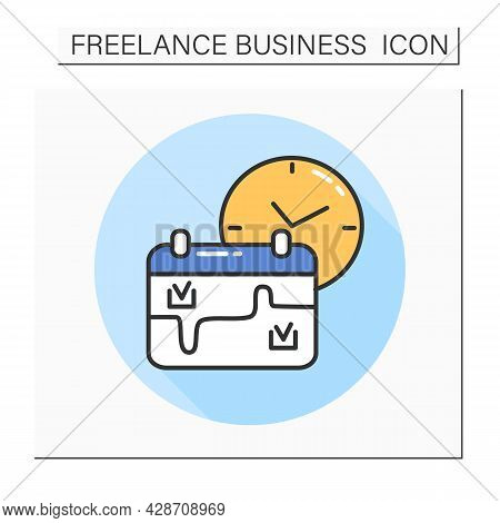 Part-time Job Color Icon.flexible Schedule.job Recruitment.reduced Work Timetable.freelancing.isolat