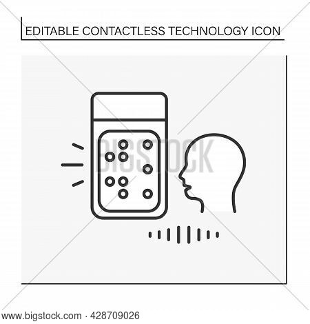 Touchless Control Line Icon. Voice Input Systems. Controlling Devices Due To Voice Commands. Contact