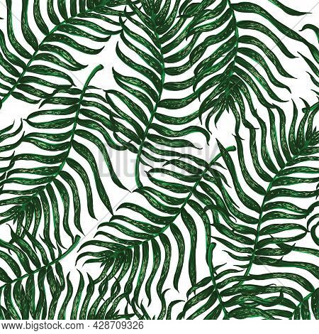 Vector Seamless Pattern With Colorful Illustration Of Tropical Palm Leaves. For Wallpaper, Textile P