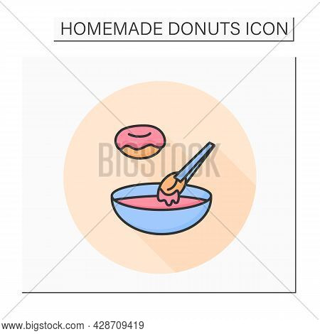 Doughnut Icing Color Icon. Donuts Dipping In Sugar Glaze Or Coating Bowl. Concept Of Homemade Pastry