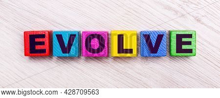 On A Light Wooden Background, Multi-colored Wooden Cubes With The Text Evolve.