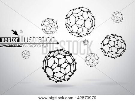 Composition of wireframe elements in the form of  truncated Icosahedron for graphic design