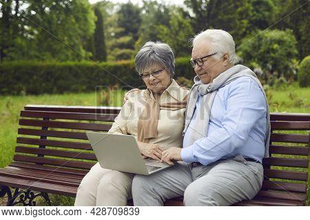 Cheerful Senior Couple Using Laptop At Park