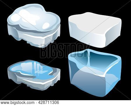 Dangerous And Safe Type Of Ice On Lake Or River. Ice Fragments. Dangerous Thin Ice. Hard Transparent