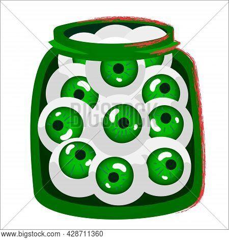 Zombie Eyes. Halloween Jar With Pickled Zombie Eyes. Spooky Vector Flat Cartoon Illustration. Creepy