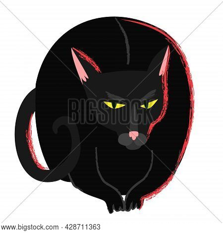 Black Witch Cat In Cartoon Flat Style. Halloween Creepy Grumpy Cat. Hellcat Clipart Isolated On Whit