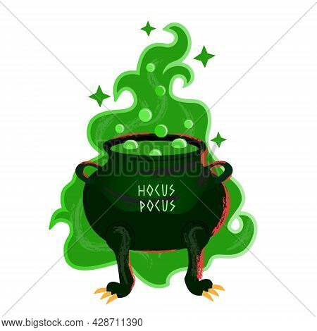 Cauldron With Bubbled Magic Green Potion. Halloween Cauldron In Cartoon Flat Style. Large Magical Gu