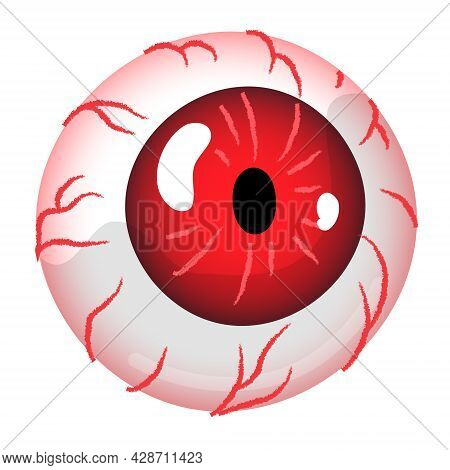 Red Eyeball. Eye With With Red Iris And Venis. Monster Or Zombie Eye Clipart Element Isolated On Whi