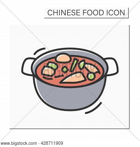 Hotpot Color Icon. Traditional Chinese Cuisine Meat Broth Soup Or Vegetable Stew. Concept Of Table S