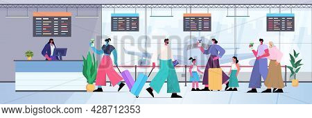 Travelers With Global Immunity Passports Standing In Queue To Check In Airport Counter Risk Free Cov