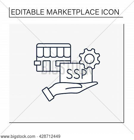 Supply Side Line Icon. Provides Product Or Service For Customers. Special Proposal Of Goods And Thin