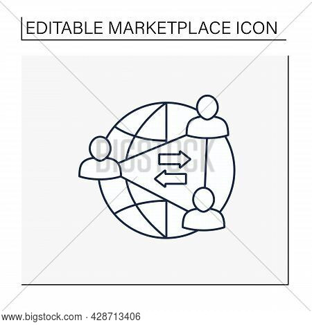 Two-sides Network Effects Line Icon.intermediary Economic Platform. User Groups Interact And Provide