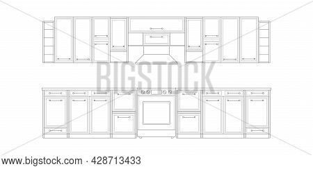 Kitchen Drawing.architectural Linear Sketch Interior Kitchen Front View.modern Home Furniture.vector