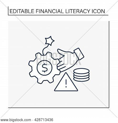Debt Management Line Icon. Debt Controlling. Financial Planning And Budgeting.financial Literacy Con