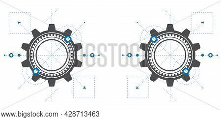 Mechanical Engineering Drawing.technical Drawing Of Gears .rotating Mechanism Of Round Parts .machin