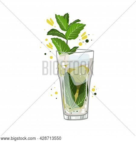 Mojito Cocktail With Lemon, Vector Clipart, Hand Drawn Food Illustration