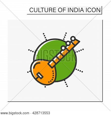 Sitar Color Icon. Indian Traditional String Musical Instrument. Indian Classical Music. Hindu Music.