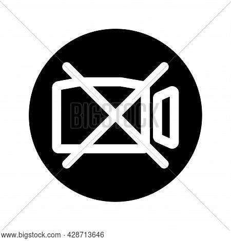 Video Camera Glyph Icon. Film Camera Off, Round Symbol. Forbidden Record. Black Internet Round Butto