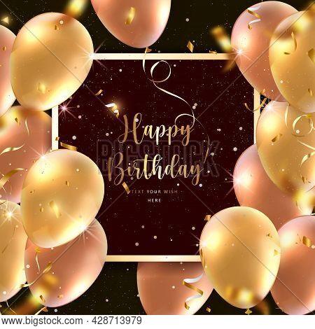 Elegant Golden Rose Pink Ballon Square Frame And Party Popper Ribbon Happy Birthday Celebration Card