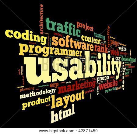 Web usability concept in tag cloud on white background