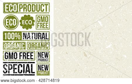Stamp Set With Craft Paper Texture. Eco Product Stamp. Gmo-free, Organic, New Product, Natural Signs