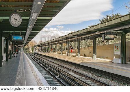 Athens, Greece, Janaury - 2020 - Exterior Scene At Train Metro Line, Athens, Greece