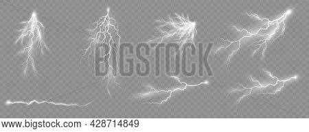 Set Of Zippers, Thunderstorm And Effect Lightning.