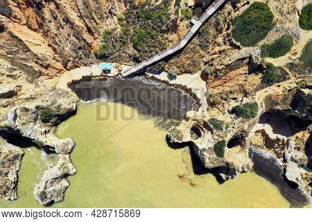 Aerial View Of Camilo Beach, Ponta Da Piedade, Algarve, Portugal