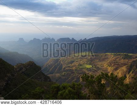 Landscape Portrait Of Beautiful Highlands In Simien Mountains, Ethiopia.
