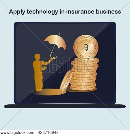Bitcoin In A Stack. Banking Foreign Exchange Transactions. Insurtech Concept. Insurance Technology C
