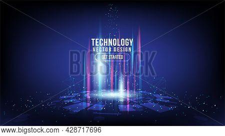 Abstract Technology Background Hi-tech Communication Concept, Technology, Digital Business, Innovati
