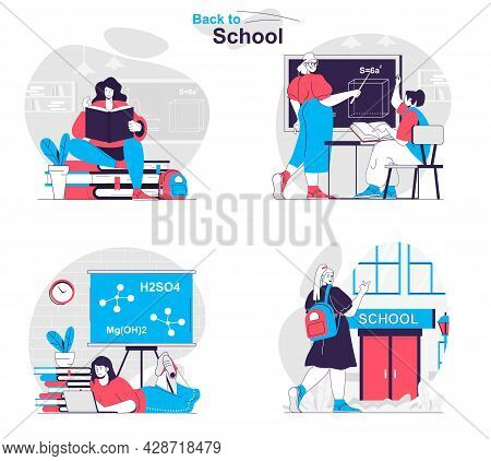 Back To School Concept Set. Students Read Books, Answer In Lesson, Do Homework. People Isolated Scen