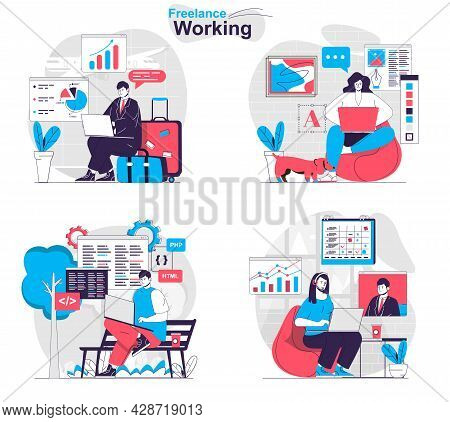 Freelance Working Concept Set. Freelancers And Remote Workers With Laptops At Home. People Isolated