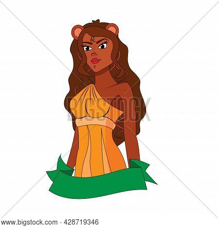 Isolated Leo Female Character Zodiac Sign Vector