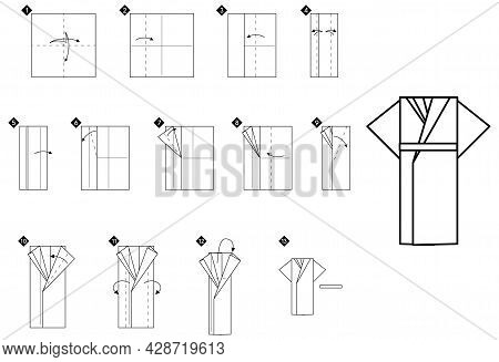 How To Make Origami Kimono Bookmark. Step By Step Black And White Diy Instructions. Outline Monochro
