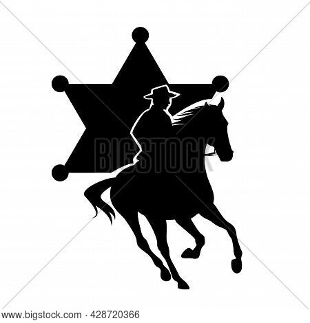American Sheriff Officer Riding Horse And Star Shaped Badge - Wild West Mounted Ranger Black And Whi