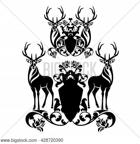 Pair Of Deer Stags With Large Antlers And Heraldic Shield Decorated With Rose Flowers - Antique Styl