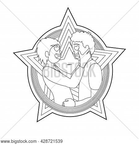 Happy Homosexual Couple With Lgbt Rainbow Outline Vector