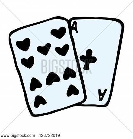 Vector Hand Drawn Cards. Fortune Telling Symbol In Doodle Style. The Ten Of Spades And The Ace Of Cl