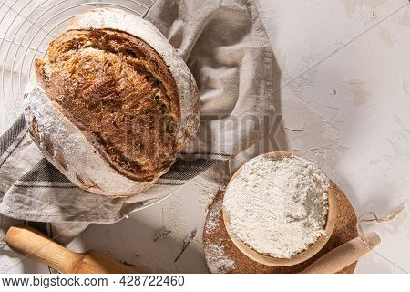 Freshly Artisan Baked Wheat And Rye Bread, Country Bread. Simple Bread For Breakfast