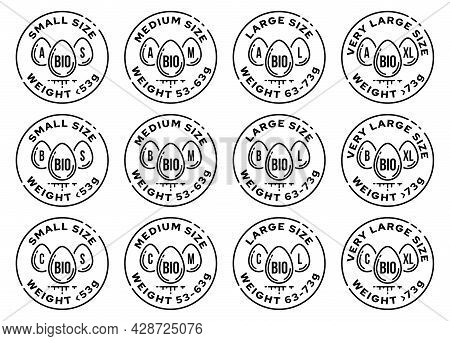 Set Of Conceptual Product Stamps. Egg Marking. Categories Of Eggs By Variety, By Weight, By Method A