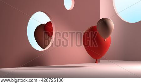 Red And Beige Balloons Looking At Mirror. The Reflection Showing Different Reality. Concept Of Self-