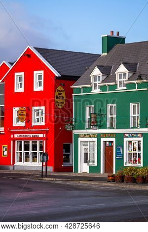 Dingle, Ireland - January 23, 2011: Traditional architecture of irish pubs in Dingle town, Ireland.
