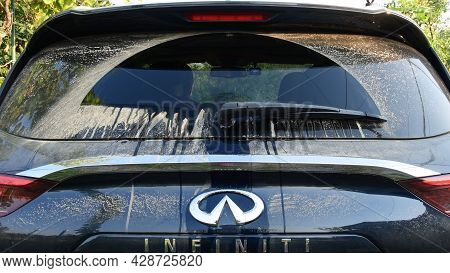 Infiniti Qx50 Rear Wiper Removes Dust And Dirt From Rear Car Window After Off Road Driving. Clean An