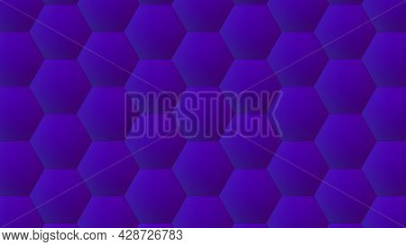 Geometric Honeycomb With 3d Render Structure. Decorative Hexagon In Futuristic Lines With Simple Orn