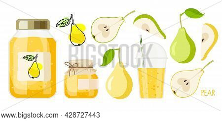 Canned Pears. Compote And Jam Or Marmalade In Jars, Drink In Glass, Pears Sketch For Label. Canned F