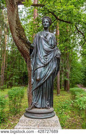 St. Petersburg, Russia - July 10, 2019: Pavlovsk Park. The Old Sylvia Twelve Paths Statues Flora.