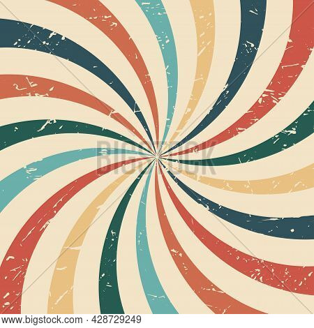 Vintage Colorful Spiral Radial Striped Starburst. Retro Abstract Sunrays Background With Grunge Text
