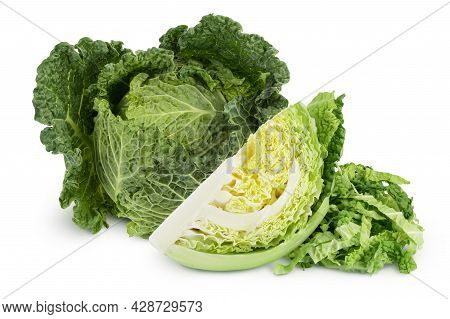 Savoy Cabbage Slice Isolated On White Background With Clipping Path And Full Depth Of Field
