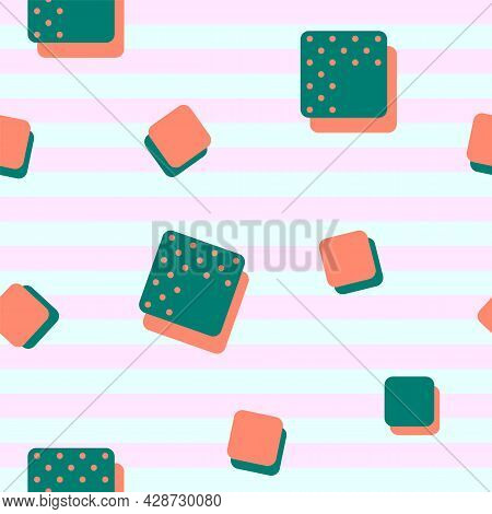 Vector Seamless Pattern. Emerald Green And Terra Cotta Orange Cubes With Polka Dots On Pastel Stripe